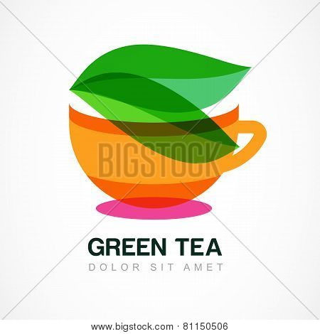 Abstract Logo Design Template. Green Tea Symbol, Natural Herbal Drink. Vector Icon.