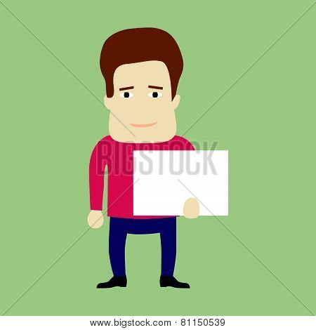 Flat Character Holding A Panel