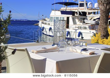 Table Dish Glasses On Marina Port Mediterranean