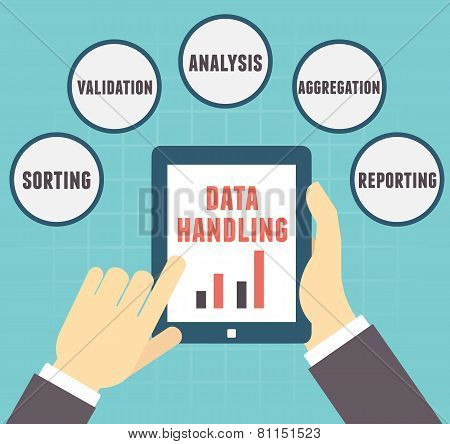 Concept Of Data Handling. User Holding Tablet Pc