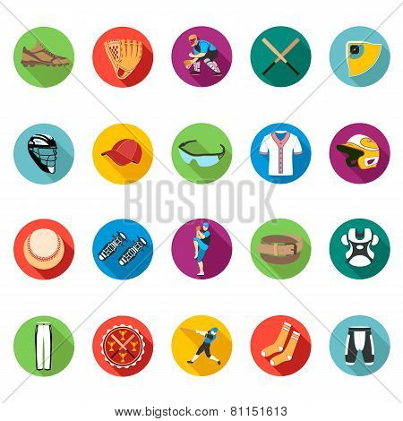 Set Of Colored Flat Icons Of Baseball