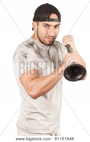 young muscular latin janitor