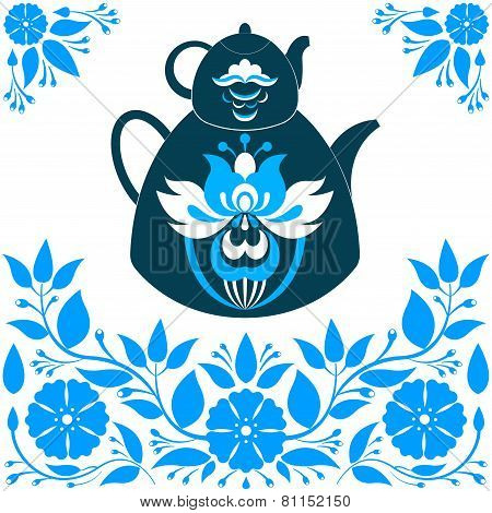 Vector Illustration A Teapot On A Blue Background.