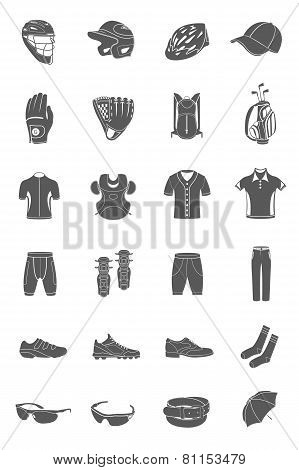 Vector Set Of Icons Sports Accessories And Clothes