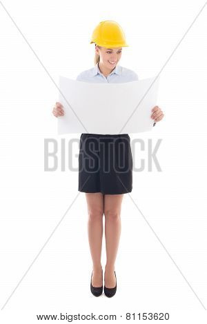 Business Woman Architect In Yellow Builder Helmet Holding Building Plan Isolated On White