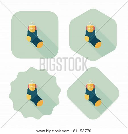 Shopping Sale Socks Flat Icon With Long Shadow,eps10