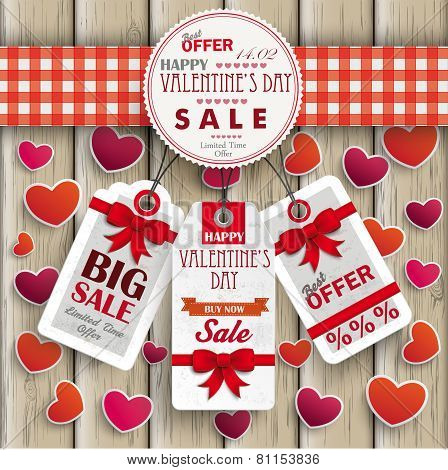 Emblem Hearts Valentinsday Price Stickers Wood