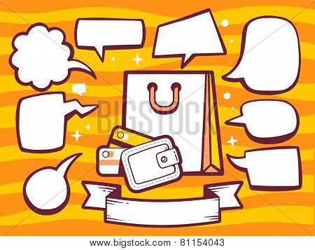 Illustration Of Bag And Money Purse With Speech Comics Bubbles On Orange Pattern Background.