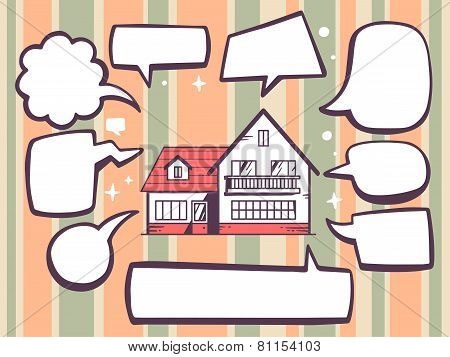 Illustration Of Home With Speech Comics Bubbles On Color Pattern Background