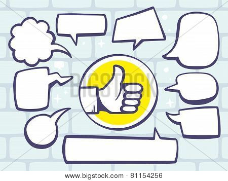 Illustration Of Thumb Up With Speech Comics Bubbles On Gray Brick Pattern Background.