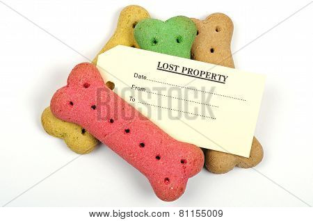dog biscuits and a lost property label