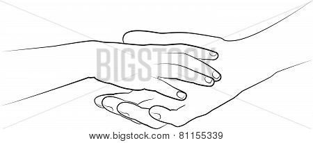 Man's Hand Holding A Child's Palm. Vector Drawing