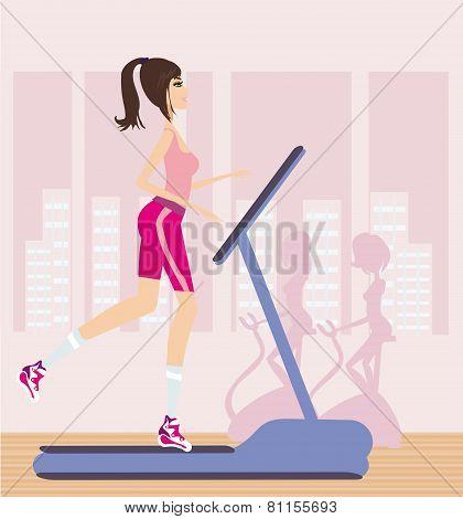 Girl Runs On A Treadmill