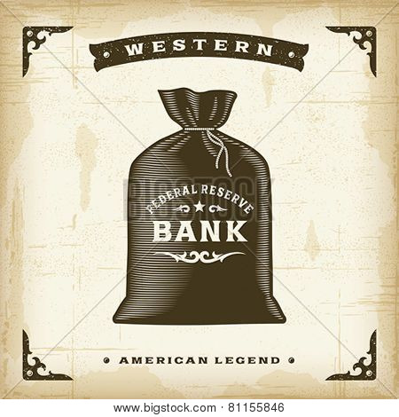 Vintage Western Money Bag. Editable EPS10 vector illustration.