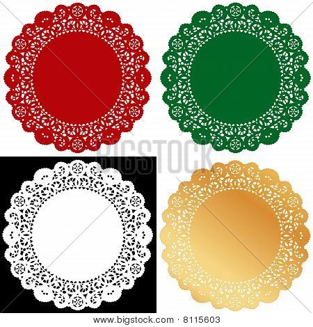 Lace Doily Place Mats, Holiday Colors