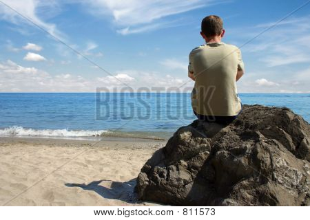 Thinking at beach