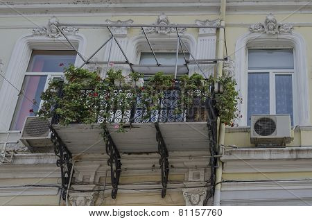 Interesting balcony at old building in Ruse town