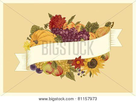 Autumn. Vintage vector card.