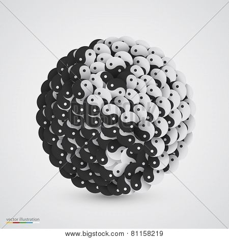 Yin yang symbol made of smaller one.