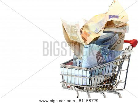 Shopping Cart Full Of Crumpled Euro Money