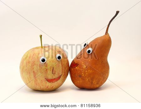 Pair Of Fruits Apple And Pear With Eyes