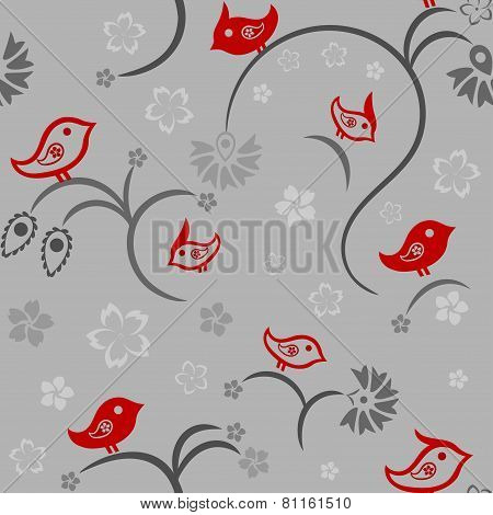 Seamless Floral Pattern With Birds, vector