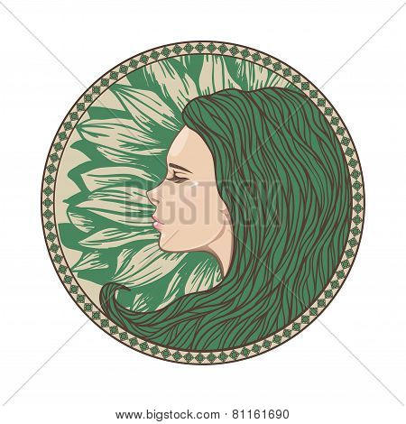 Vintage Girl Portrait in Ornate Circle Frame