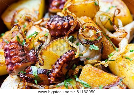 Pulpo A Feira, Octopus Galician Style. Octopus With Fried Potatoes.