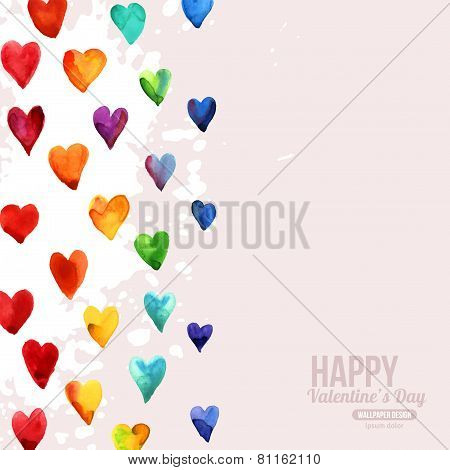 Rainbow Watercolor Happy Valentines Day Hearts.