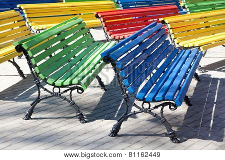 Multicolored Wooden Benches