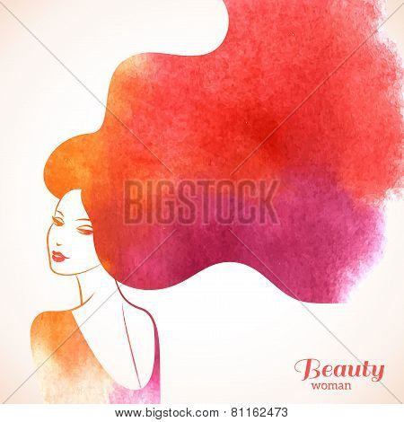 Watercolor Fashion Woman with Long Hair.