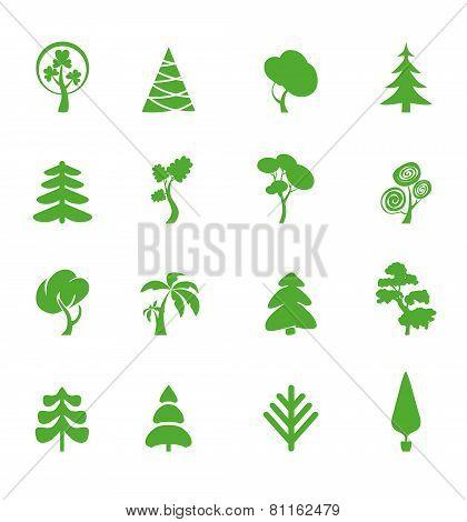 Green Leaf Icons Set. Nature Ecology Image.