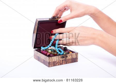 Woman Hand Opened Box