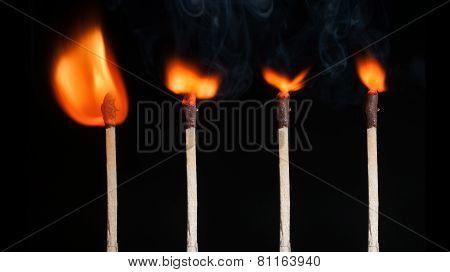 Matches flamind set isolated on black