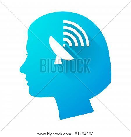 Woman Head Icon With An Antenna