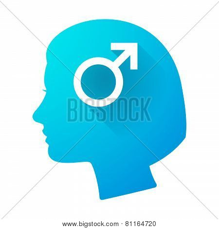 Woman Head Icon With A Male Sign