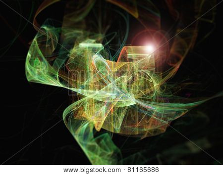 Abstract Green Fractal Texture. Visualization Of Complex Equations.