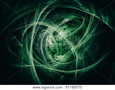 Abstract Green Fractal Texture that looks like spider nest. Visualization Of Complex Equations.