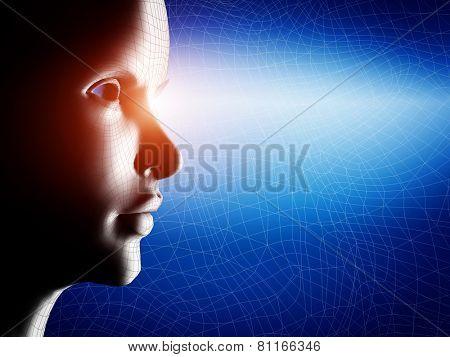 Digital, wireframe human profile face portrait on blue, technological background