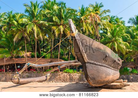 Traditional Tropical Fishing Boat On The Beach