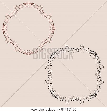 Decorative Set Of Ornaments On Background
