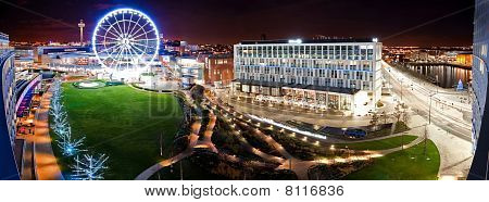 Night Time View Of The Wheel And Liverpool City