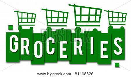 Groceries Green Stripes Carts