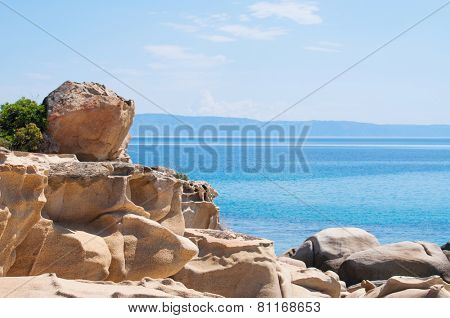 Detail from beautiful Karidi beach on the east coast of Sithonia, Greece