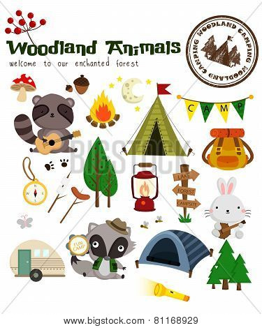 Woodland Animal Camping Vector Set