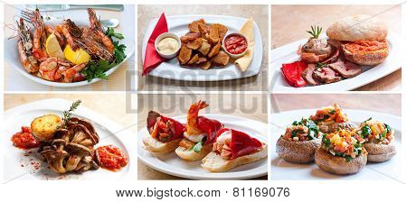Food dishes. tapas. cold starters