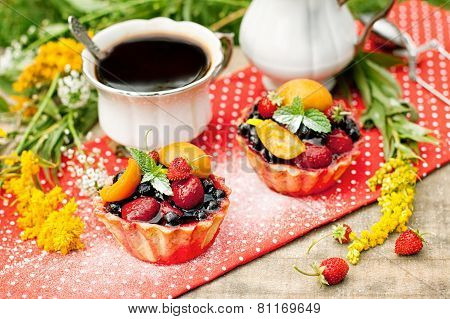 Breakfast With Berries Cakes And Coffee