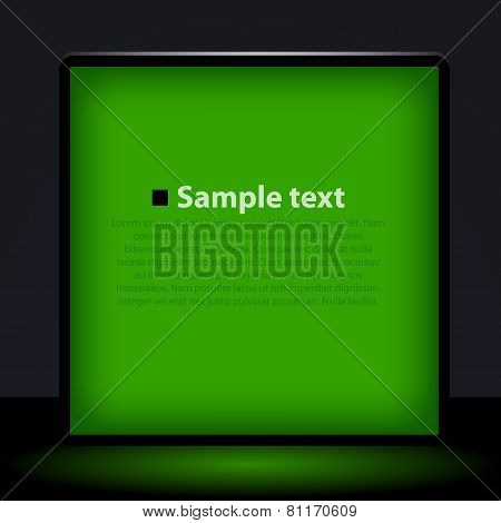 Green light box illustration.