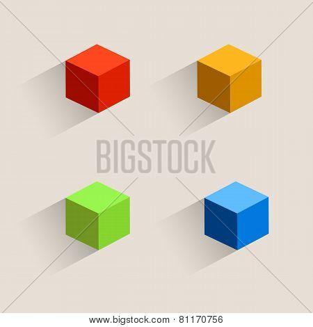 Vintage color cubes icons.
