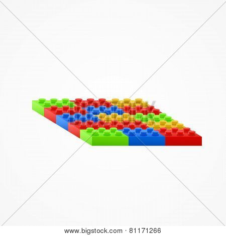 Plastic building blocks.